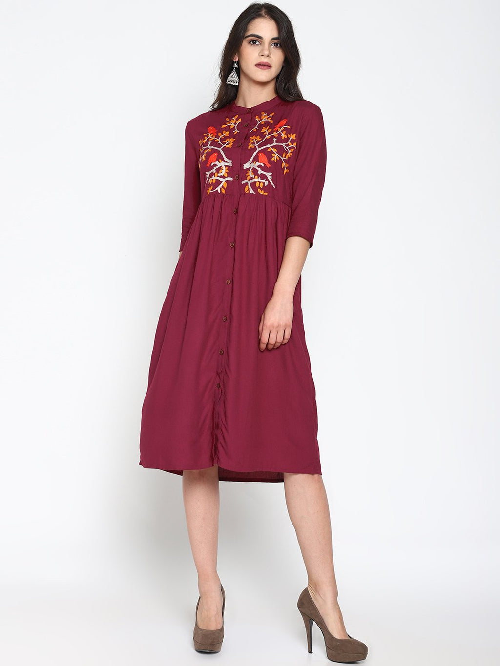 Maroon Front Open Embroidered Dress | Untung