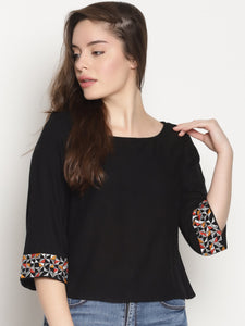 Black Crop Top With Embroidered Sleeves | UNTUNG