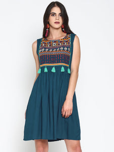 Skater Dress With Embroidered Yoke | UNTUNG