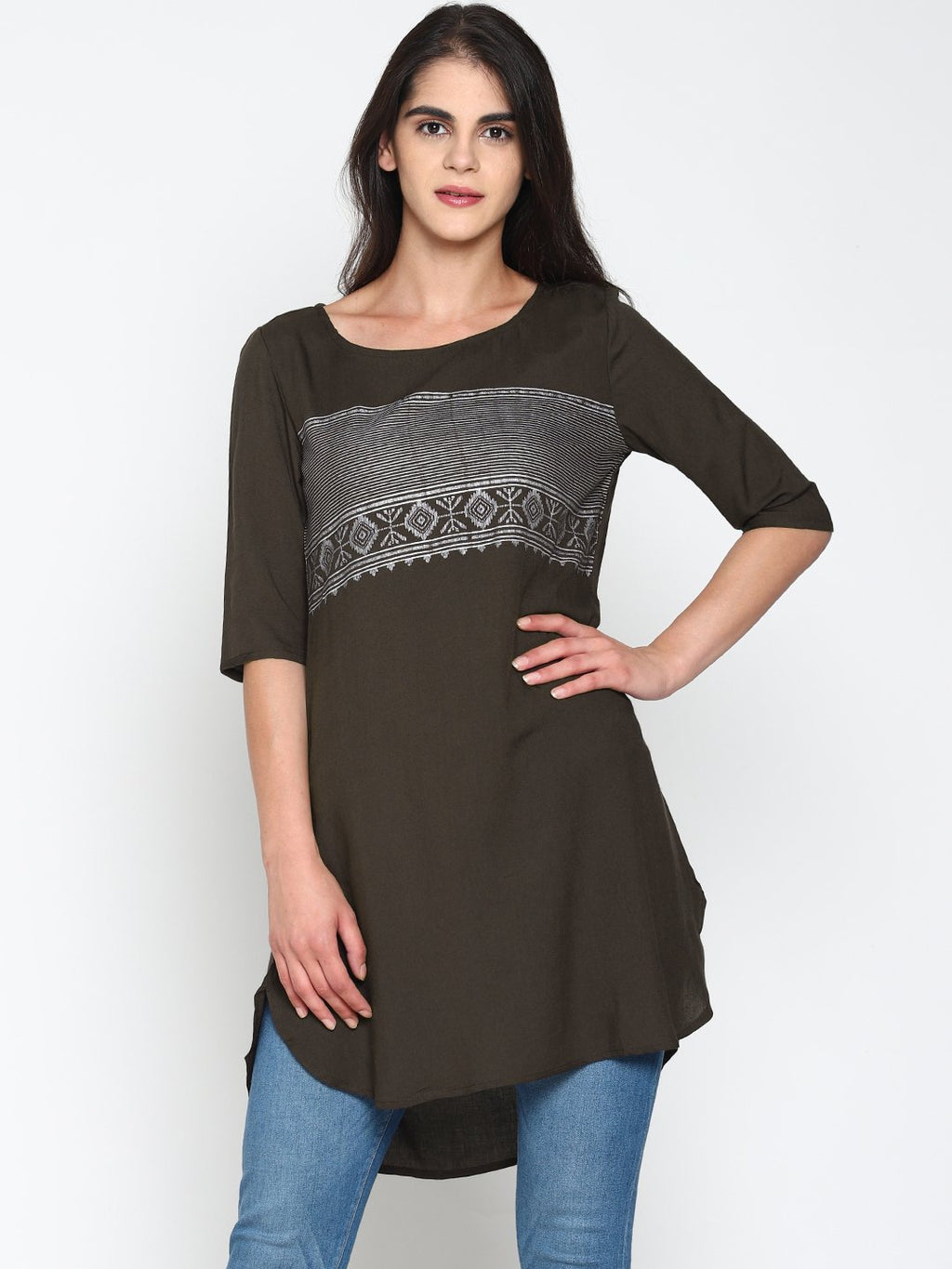 Grey Chest Printed Tunic | Untung