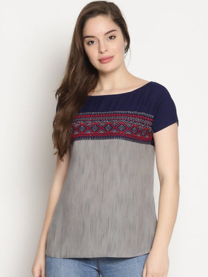 Grey and Blue Mix n Match Top With Embroidery | UNTUNG