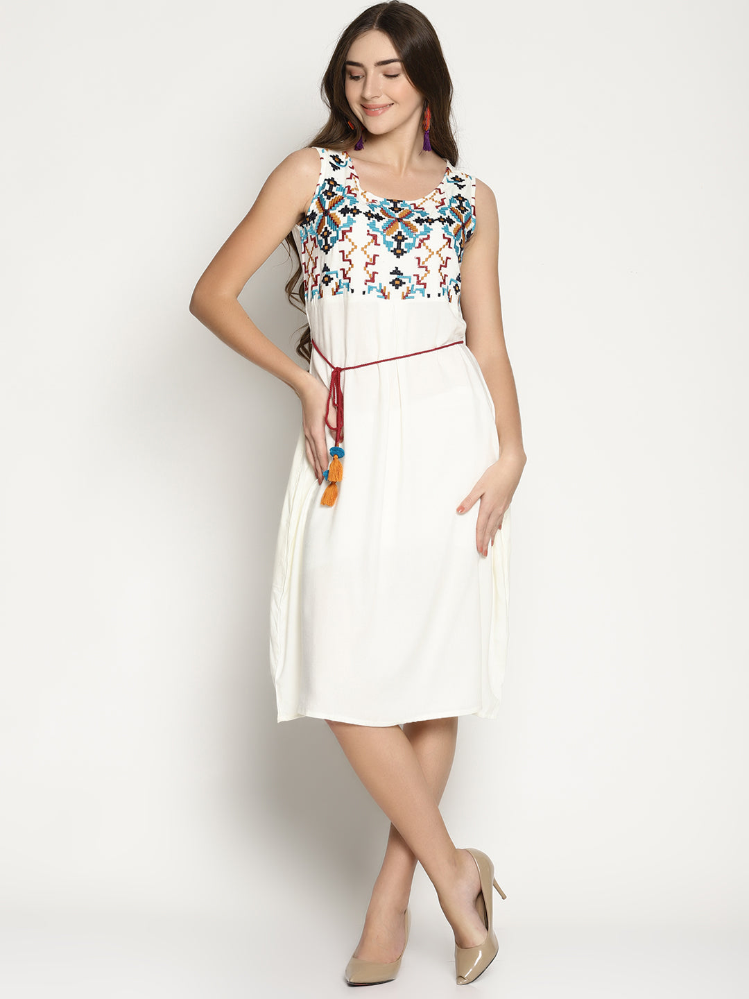 White Embroidered Dress With Tie Ups | Untung