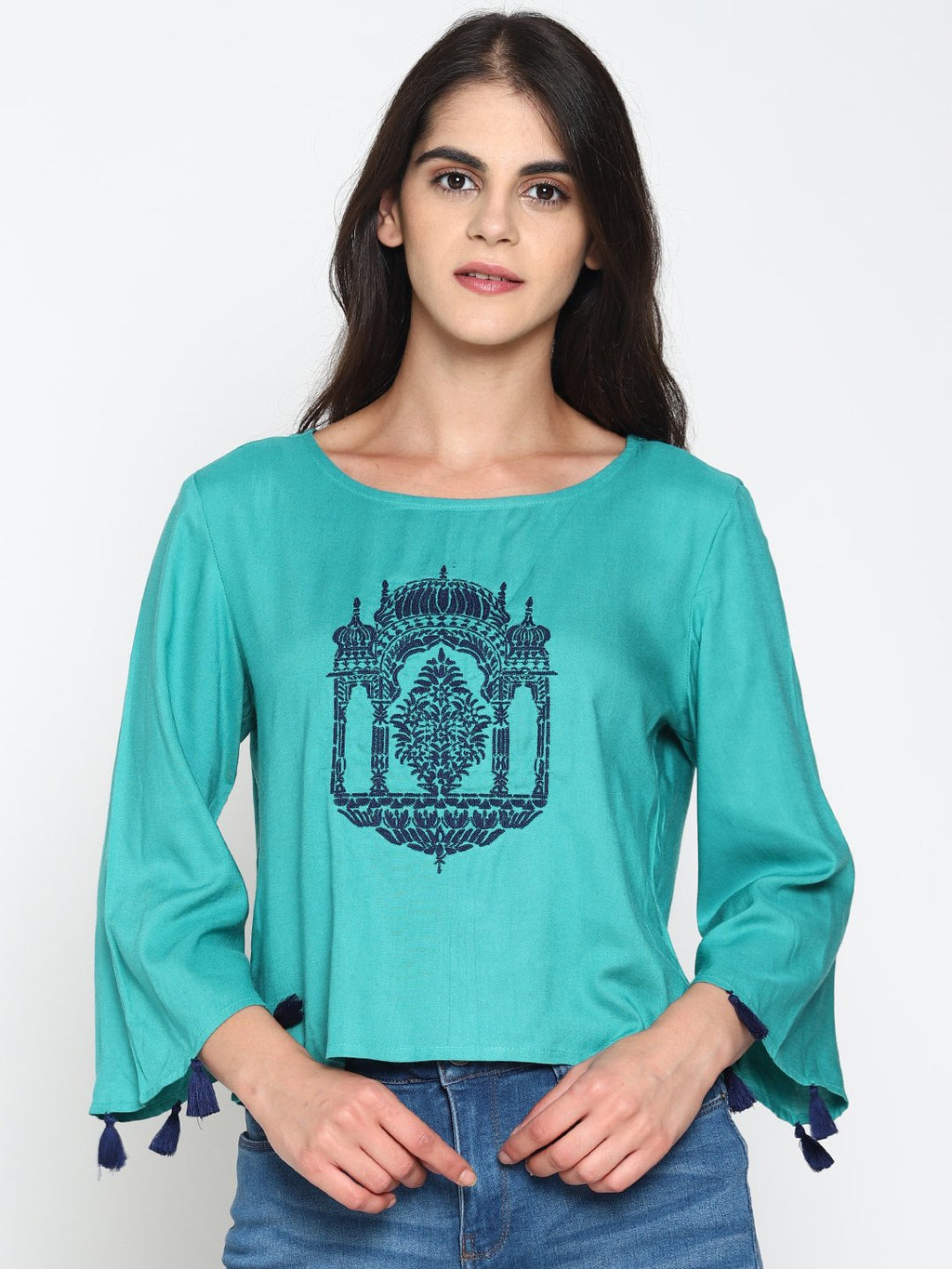 Teal Temple Embroidered Crop Top With Tassels | Untung