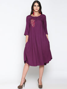 Purple Embroidered Tunic | UNTUNG