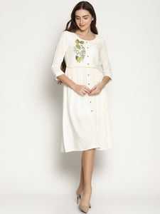 Off White Front Open Dress With Embroidery | UNTUNG