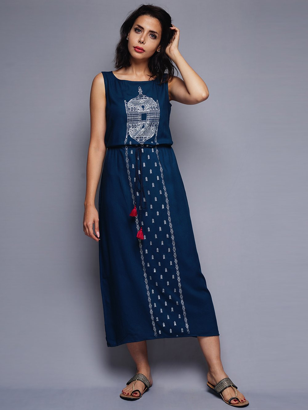 Teal Blueprinted Dress With Waist Tie-up | Untung