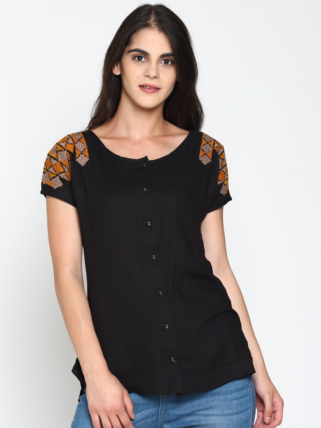 Embroidered Front Open Top