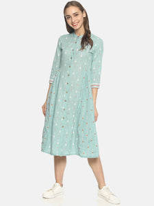 Blue block printed front open dress with embroidery