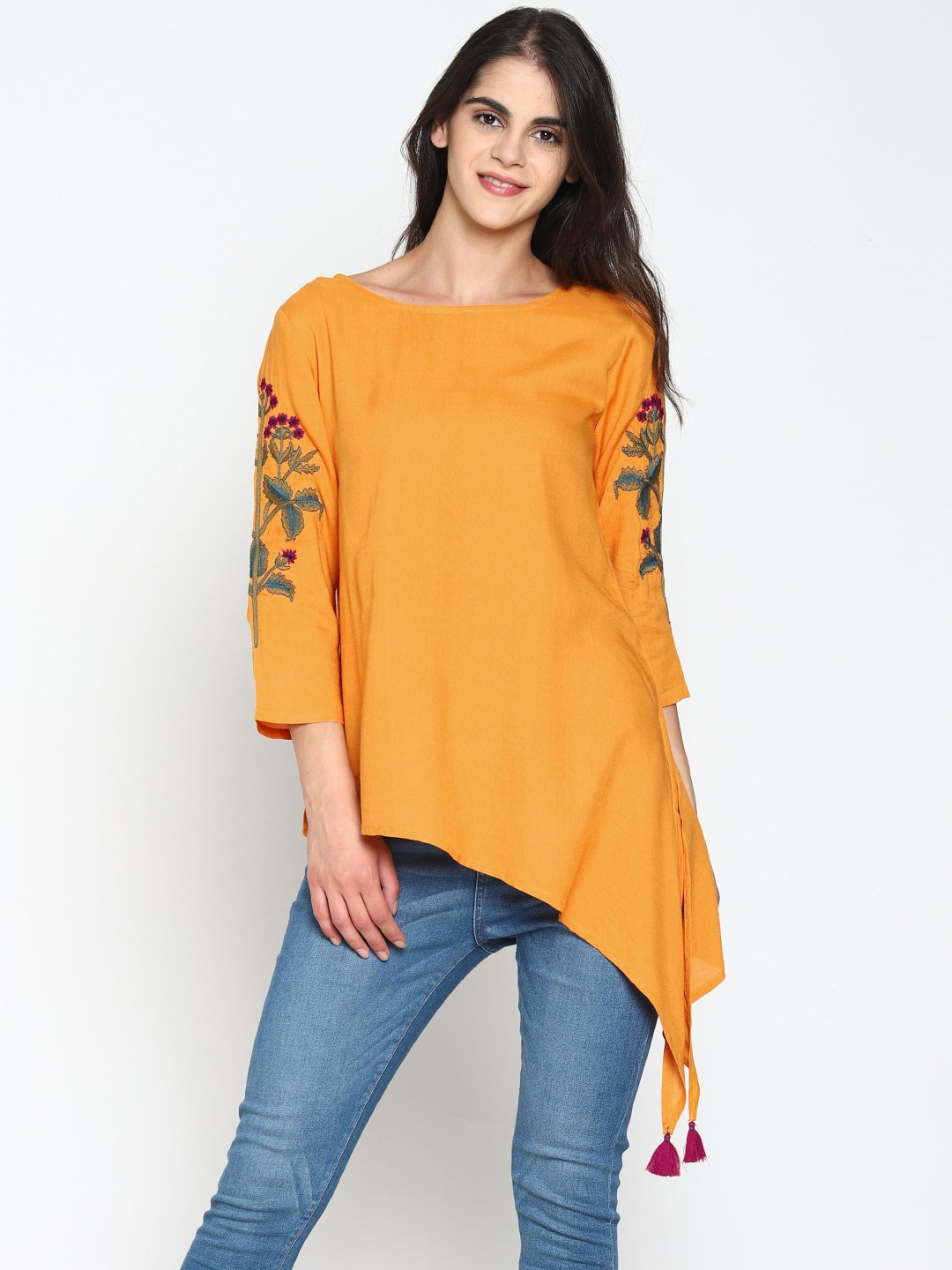 Mustard High Low Tunic With Embroidered Sleeves | Untung