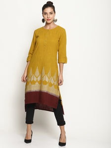 Mustard Kurta With Dip Dye and Printed Hem | UNTUNG