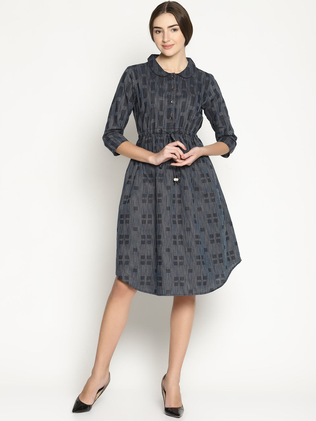 Woven Dobby Dress With English Collar And Waist Draw Strings | UNTUNG