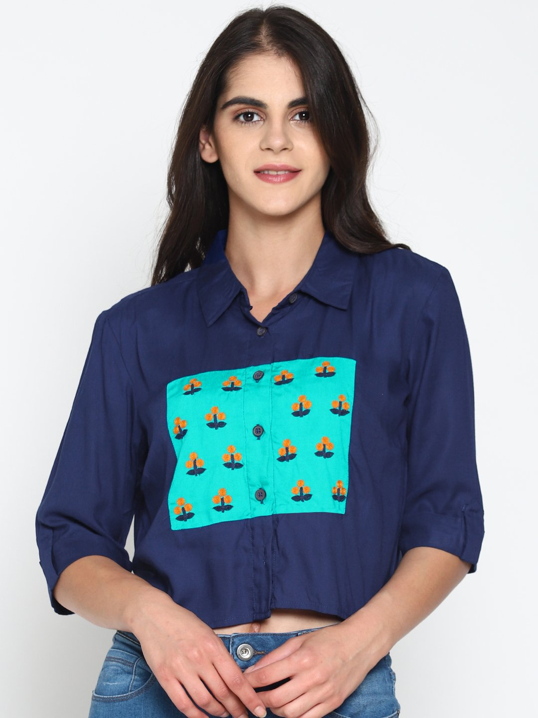 Embroidered Color Block Shirt | UNTUNG