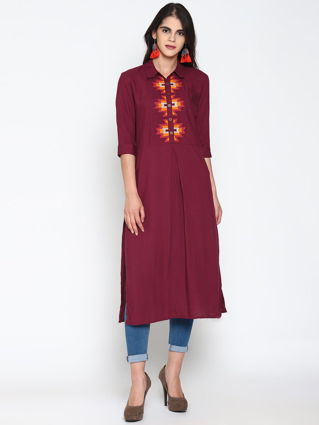 Maroon Embroidered Shirt Kurta | Untung