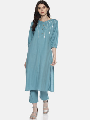Light Blue Arrow Printed Kurta | UNTUNG
