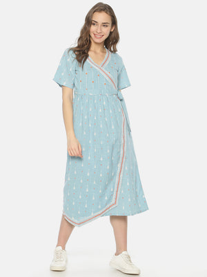 Light Blue Wrap Dress With Embroidery | Untung