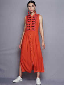 Orange Kurta With Embroidered Yoke