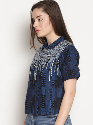 Blue Printed Shirt Top | Untung