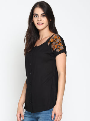 Black Embroidered Front Open Top | Untung