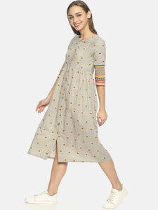 Off white Block printed front open dress