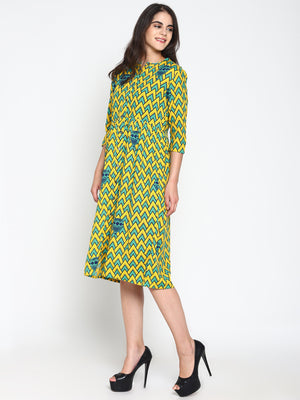 Printed Dress with Front Pockets