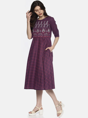 Purple Flared Printed Dress | Untung