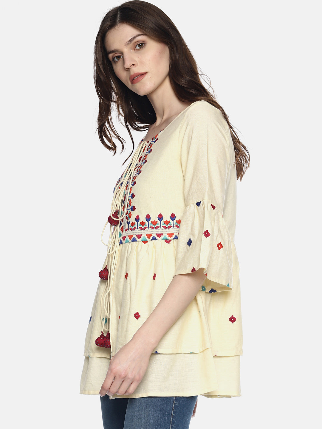 Off White Organic Cotton Shrug With Embroidery | UNTUNG