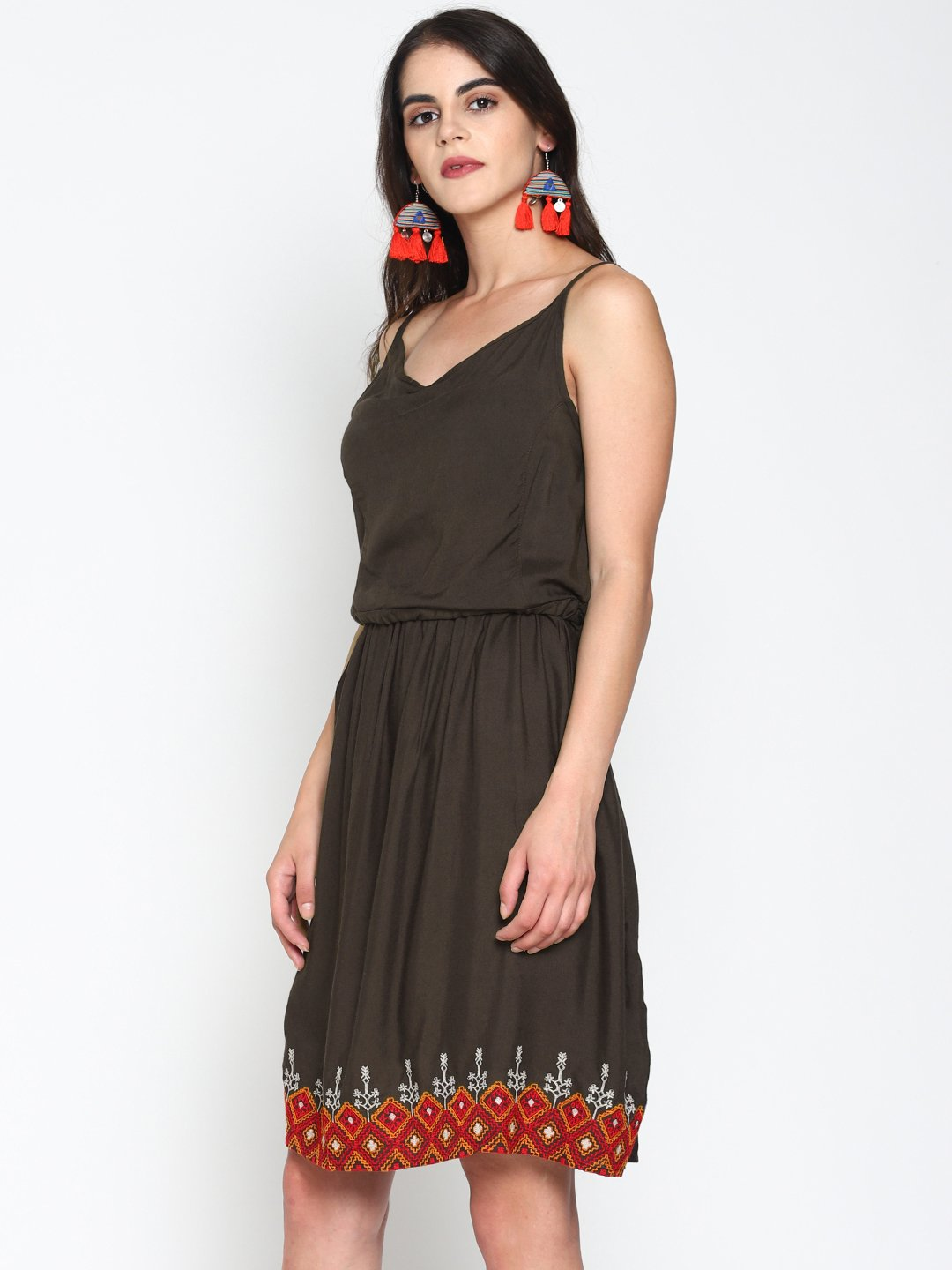 Skater Dress With Embroidered Border | UNTUNG
