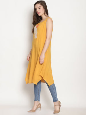 Yellow Sleeveless Kurta With Bird Embroidery | UNTUNG
