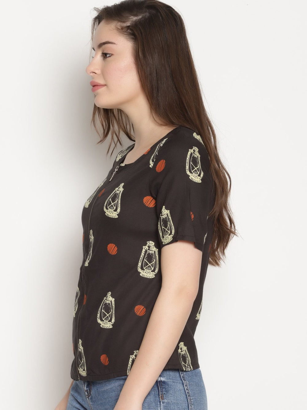 Black Lantern Print Top | Untung