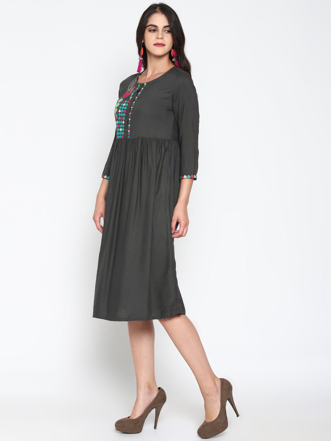 Embroidered Front Open Dress | UNTUNG