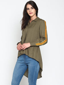 Stylized Shirt With Embroidered Sleeves