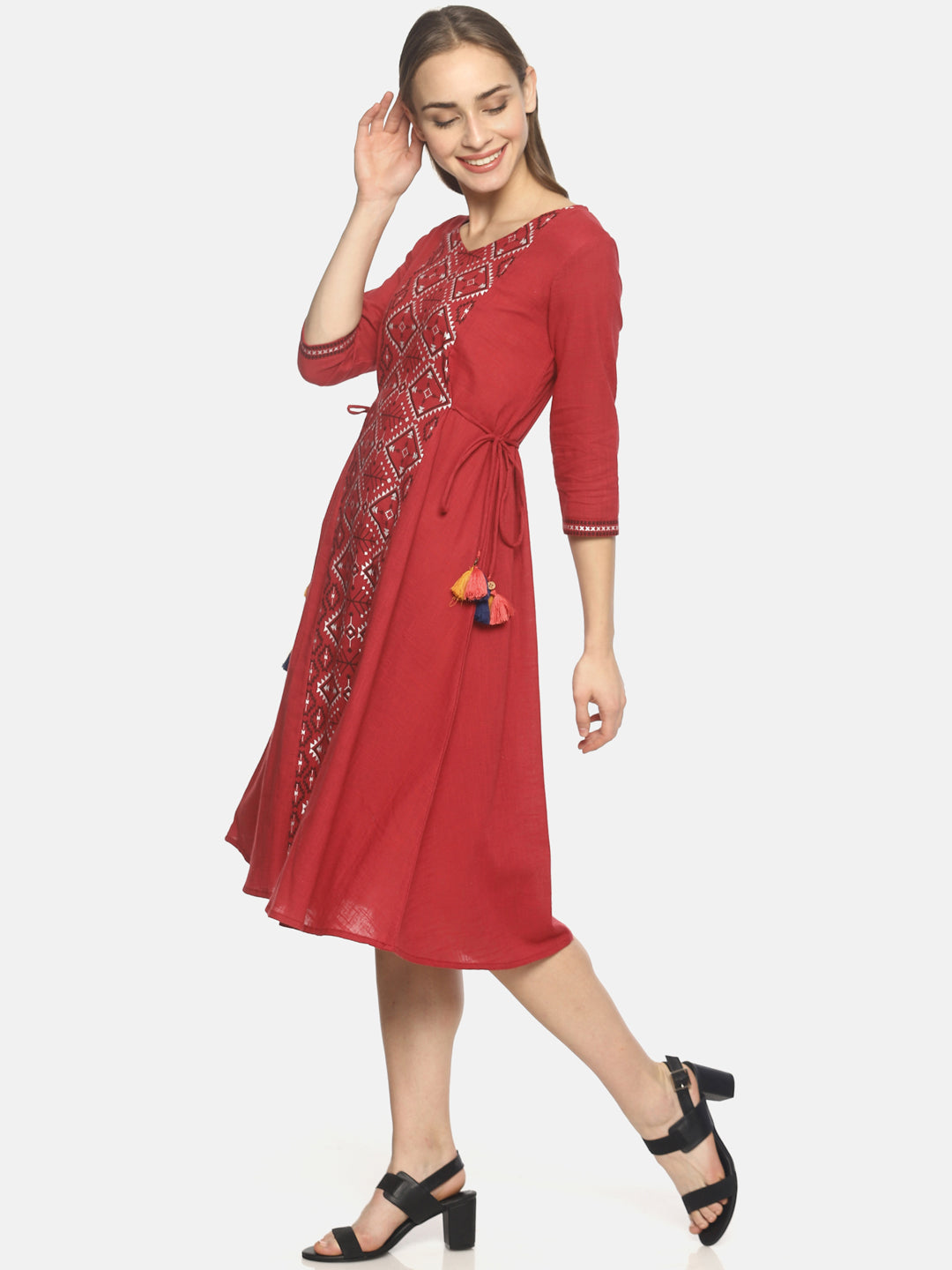 Red printed A-line dress with waist tie-up