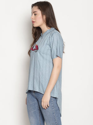 Blue Printed High Low Top With Scooter Embroidery | UNTUNG