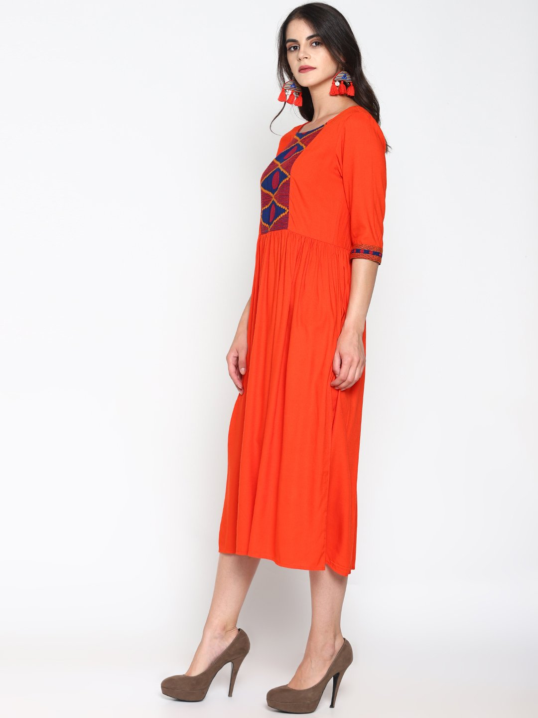 Orange Maxi Dress With Embroidered Yoke | Untung
