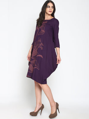 Dress with Floral Placement Print | UNTUNG