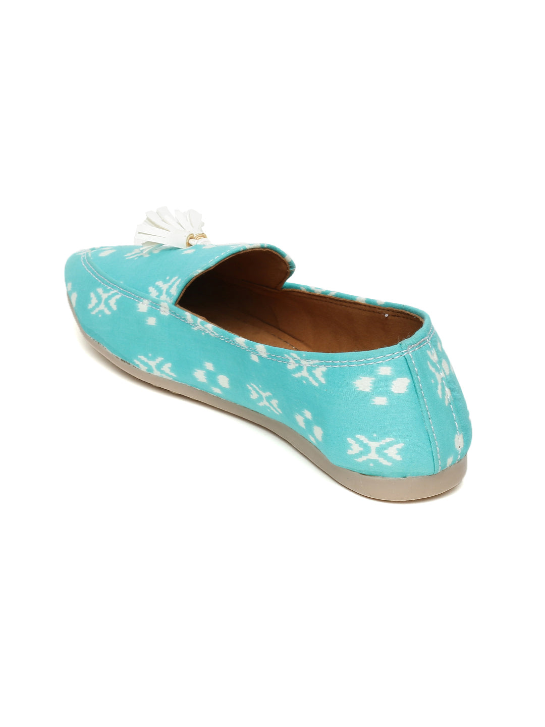 Turquoise Block Printed Loafers