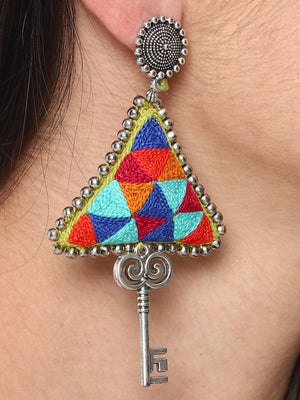 Hand Embroidered Earrings With Key Hanging