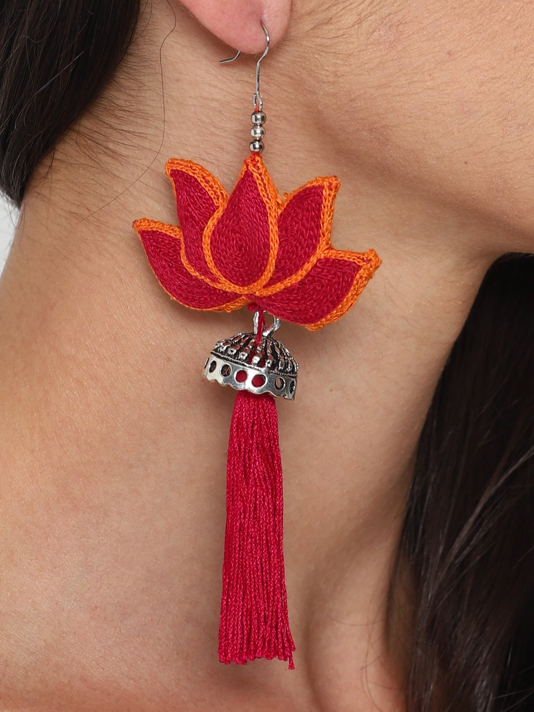 Hand Embroidered Earrings With Tassels