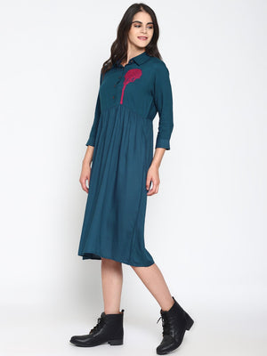 Embroidered Casual Dress | UNTUNG