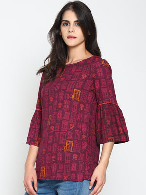 Printed Top with Ruffled Sleeves | UNTUNG