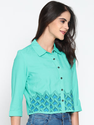 Blue Embroidered Shirt | Untung