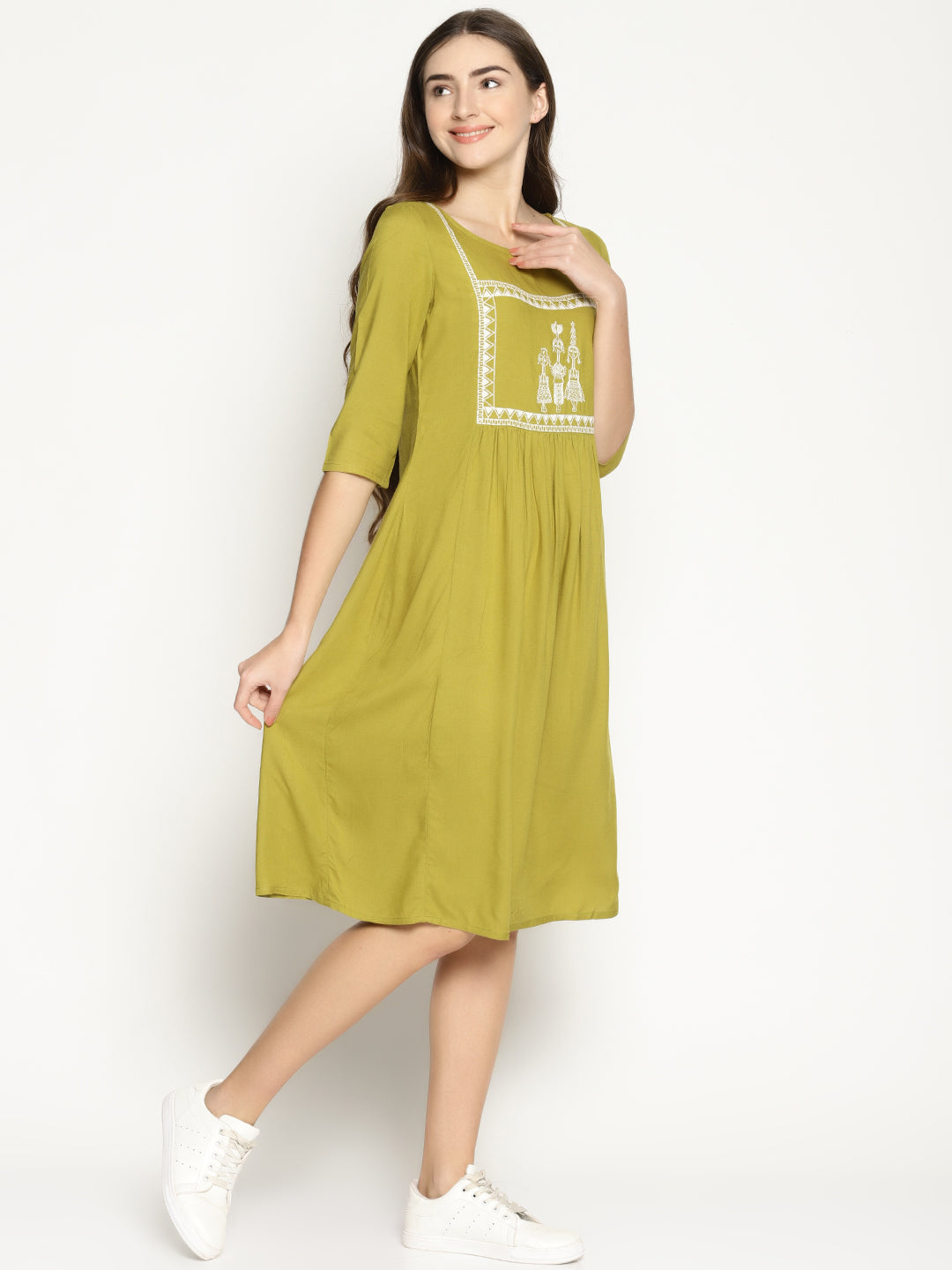 Khaki Shift Dress With Tribal Embroidery | UNTUNG