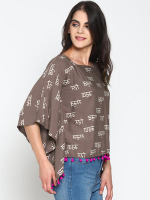 Grey Calligraphy Printed Kaftan Top | Untung