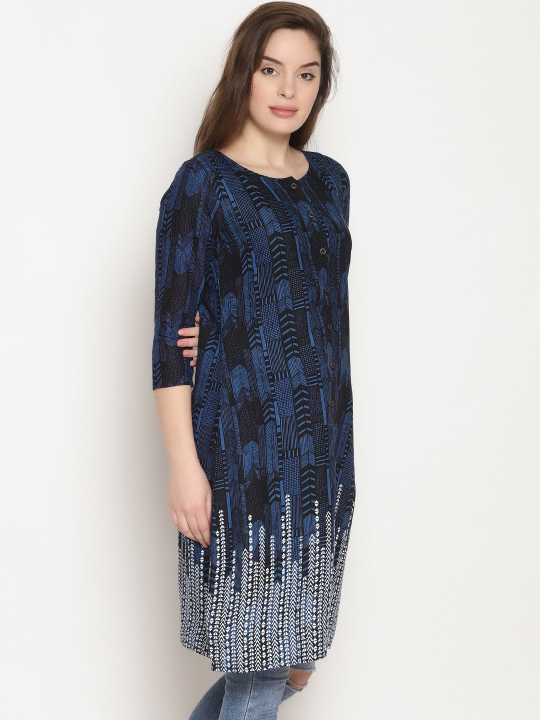 Grey Printed Tunic With Border | UNTUNG
