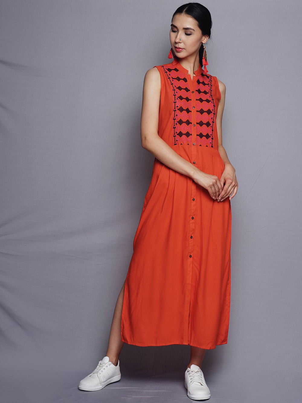 Orange Front Open Dress | Untung