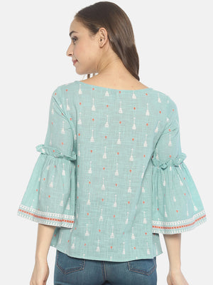 Blue Block Printed Top With Ruffled Bell Sleeves | Untung