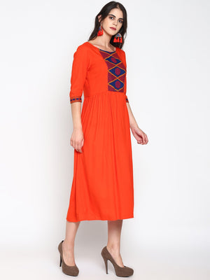 Dress With Embroidered Yoke | UNTUNG