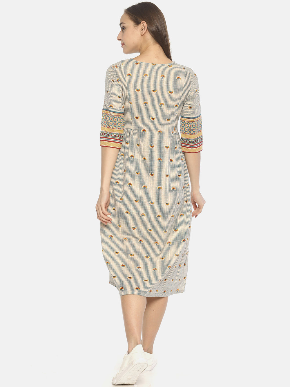 Off White Block Printed Front Open Dress | Untung