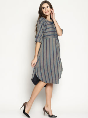 Grey Striped Dress With Curved Hemline | Untung