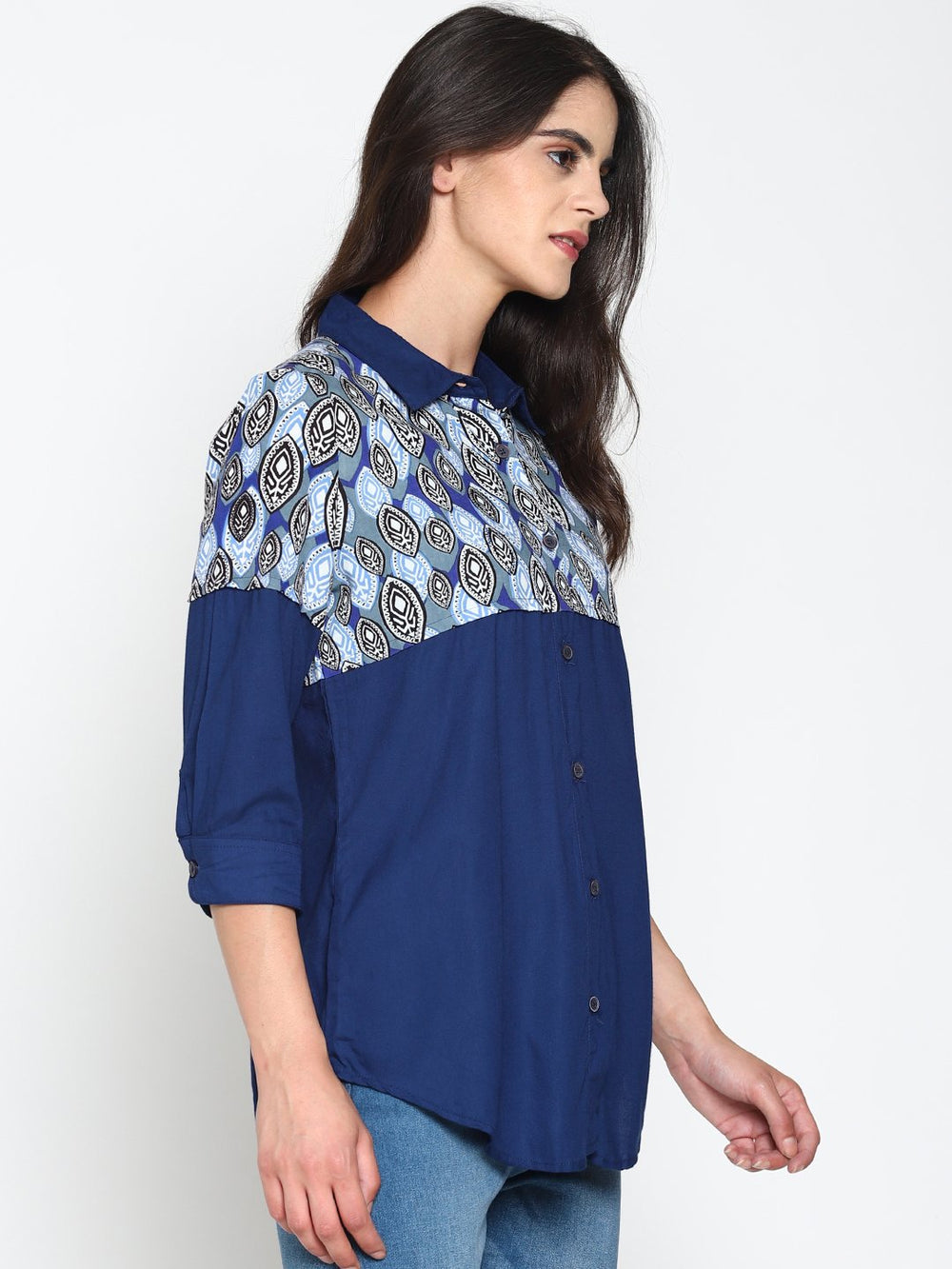 Blue Layered Shirt With Tribal Printed Yoke | Untung